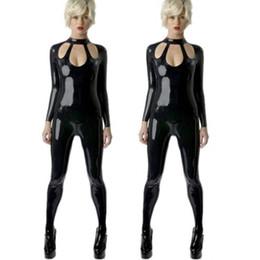 Cuir de buste ouvert en Ligne-S-5XL Sexy Black Female Faux Leather Catsuit Érotique Cut Out Buste Combinaison Fétiche Ouvert Entrejambe Stretch Bodywear Body Lingerie