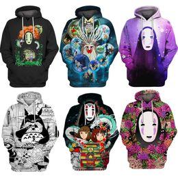 2019 moletom bordado Hoodie camisola trajes de halloween Spirited Away 3d Imprimir hoodies Homens mulheres moletom com capuz Camisola Chihiro / Nenhum Homem Rosto / White Dragon S-5XL moletom bordado barato