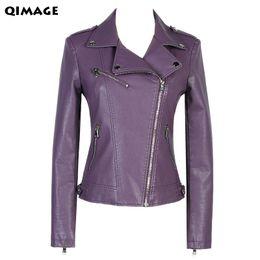 jaqueta de couro feminina roxa Desconto 2017 Moda jaqueta de couro de manga curta para senhoras jaqueta de couro das mulheres casaco curto magro design outerwear das mulheres roxas