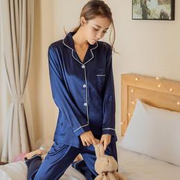 traje de oso azul Rebajas Ropa de dormir para mujer Conjunto de pijamas de encaje de seda de satén Camisetas de manga larga casuales + pantalones de dos piezas Ropa para el hogar