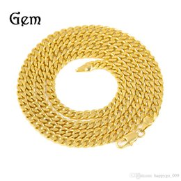 Wholesale Wholesale 24k Gold China - newest 5mm 30inch 3mm 24inch Real 24K Yellow Gold Rhodium Plated Solid Cuban Curb Chain Mens Necklace Hip Hop Jewelry Star Style