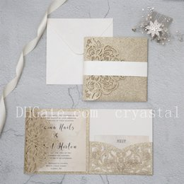 Luxury Champagne Gold Glitter Tri-Fold Laser Cut Pocket Wedding Invite With Belly Band , Provide Free Printing and Free shipping
