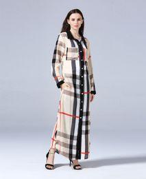 New Design Women Plaid Button-down Cardigan Blouse Dress Muslim Shirt Dresses Summer Long Sleeved Casual Cardigan Plus Size L-7XL