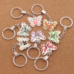 Wholesale Enamel Metal Ring - 7Colors Enamel Crystal Butterfly Pendant Key Ring Antique Silver Keychain 30mm Key Rings K1558 FASHION Jewelry