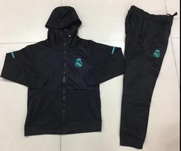 Wholesale Real Madrid Club - New 2018 Real Madrid Hooded jacket training suit 17 18 Maillot de foot chandal survetement RONALDO tracksuit Club football jacket kit +pants