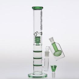 Bong de cristal 42cm online-Green Glass Bongs Water Pipes 42cm Biciclo de reciclado de dos funciones Joint 18.8mm con Bongs de cristal Ash-Catcher Three HoneycombDome Percolators