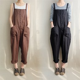 a1e515e589fc New Summer Womens Loose Rompers Jumpsuit Linen Pants Strap Harem Trousers  Overalls With Pocket Women Button Bodysuit 2Colors