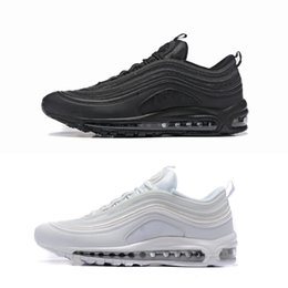 Wholesale Canvas Shoes Size 12 Women - Classic Maxes 97 OG Tripel Black White Men Women Running Shoes Max97 GS Authentic Sports 97s Boots Sneakers With Box Size 5.5-12