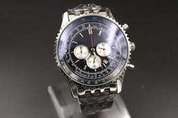 Wholesale Chronometer Quartz - Luxury watches Quartz Movement -Watch Men Chronometer Blue Dial Silver Case Stainless Belt Silver Skeleton 1884 Watch B01 MONTBRILLANT watch