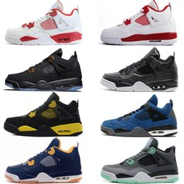 Wholesale cheap military shoes - Cheap New 4 4s Men Basketball Shoes Game Royal Thinker Oreo Eminem White Cement Pure Money Toro Bravo Bred Military Blue Cavs Sport Sneakers