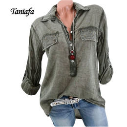 TANIAFA Blusa de algodón de manga larga para mujer Camisas de mezclilla Elegante con cuello en V Plus +++ Tamaño Top 5XL RivetButton HQ general para mujeres desde fabricantes
