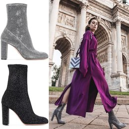 Wholesale Silver Glitter Chunky High Heels - Europe and the United States 2017 winter new elastic boots women boots thick high heels Lycra cloth boots round head shoes