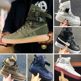 Wholesale Lace High Knee Socks - 2017 High Top Sock Boots With AirForce 1 High SF Cowhide and Canvas Outdoors Walking Shoes Autumn winter perfect neutra Knee Boots