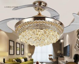 Wholesale Fans Ac - Modern LED Crystal Invisible Ceiling Fans Light 42Inch Remote Control Fan Lights Living Room Bedroom Chandeliers Ceiling Light Pendant Lamps