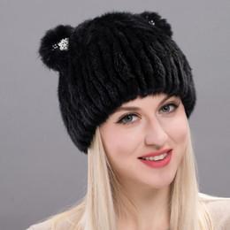 JKP Sombrero de piel de invierno para mujer de punto de visón real lindo y  encantador gato forma tapas 2018 nueva moda Skullies ruso gorros DHY17-24  ... 613a00613b8