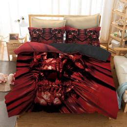 king size skull bedding Sconti 3 pz cranio set di biancheria da letto king size boemia del cranio stampa copripiumino set con federa au letto queen migliore regalo da letto
