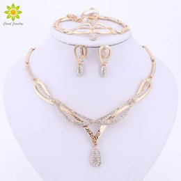 Wholesale Jade Jewellery Sets - whole saleAfrican Wedding Party Fine Jewellery Set Dubai Gold Color Crystal Necklace Earrings Jewelry Set Fine Jewelry Collection