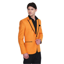 Custom Orange Men Suits Peaked Lapel Custom Made Tute Ropa Formal Hombres Slim Fit Smoking dello sposo Fashion 2 Pezzi (Jacket + Pant) da
