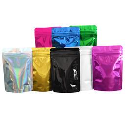 tissu de lapin de pâques Promotion 8.5 * 13cm 100Pcs / Lot coloré aluminium brillant tiennent le sac d'emballage zip-lock sac de paquet refermable de sac de nourriture de Doypack Mylar