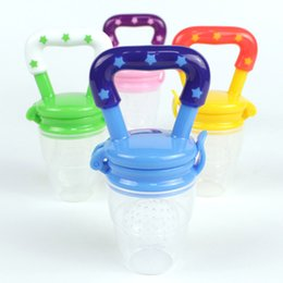 Wholesale Nipple Baby Bottle - Baby Kids Drinkware Fruits Food Feeder Silicone Baby Pacifier Infant Nipple Mini Feeding Bottle Juice Cup Teething Stick Gifts HH7-373