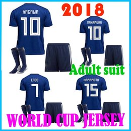 Wholesale Japanese Uniform Blue - In 2018 World Cup football suit shirt 2018 Japanese family blue # 10 KAGAWA # 4 Honda Japan's 2018 World Cup suit soccer uniforms