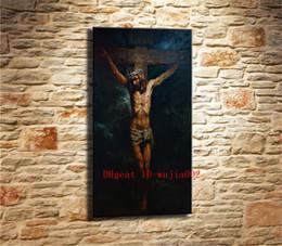 pintura a óleo jesus Desconto A Paixão de Jesus Cristo, Pintura em Tela Sala de estar Decoração de Casa Moderna Mural Art Pintura A Óleo