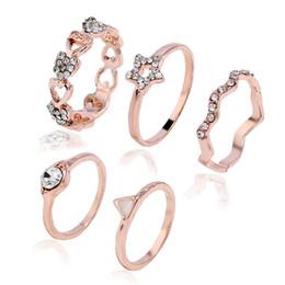 Estrela de yiwu on-line-Instagram moda new star amor strass anel feminino rose gold set decoração yiwu pequenos acessórios atacado