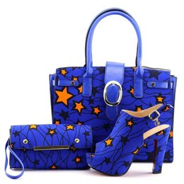 Wholesale Royal Wedding Bands - Royal Blue Yellow Matching Shoe and Bag Set Decorated with Rhinestone Italian Shoes with Matching Bag High Quality African Women Shoes