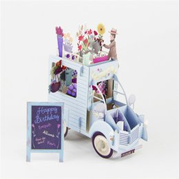 Wholesale Wholesale Thank Cards Wedding - Wholesale- 3D Pop Up Greeting Cards Car with Flowers Handmade Valentine Halloween Easter Thank You Wedding Invitation