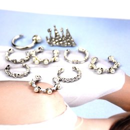 crown stud settings Promo Codes - Crown Pearl Cuff Earrings Set Vintage Punk Stud Earrings 9pcs Set Piercing Non Piercing Earclip Jewelry Set Support FBA Drop Shipping H128R