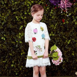 Wholesale Bohemian Formal Dress Lace - Girl Summer Princess Dress Embroidered Flowers White Lace Dress for Kids Fashion Clothing 2018 Brand Baby Girl Clothing