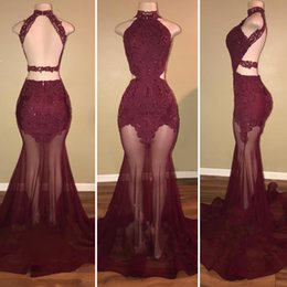 Wholesale Evening Halter Top White Gowns - Backless Burgundy Prom Dresses 2018 See Through Tulle Skirt Lace Beaded Top Halter Cutaway Sides Arabic Ruffles Mermaid Evening Gowns