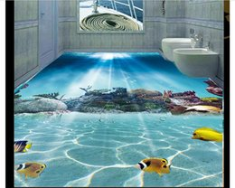 Wholesale Coral Heating - Wholesale-Custom Photo Floor Wallpaper Underwater world coral fish stereoscopic bathroom 3D Flooring Self-adhesive Floor decor Painting