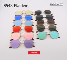óculos de sol flash Desconto 2018 Marca Designer Mulheres uv400 Sunglasses Square lente plana luxo óculos de Sol Dos Homens Retro flash Hexagon Metal Frame TOP gafas legal 3548