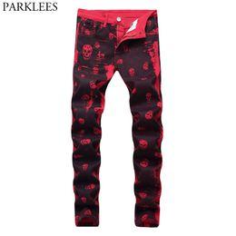 Club jeans männer online-Night Club Bleistift Jeans Männer Red Skull Print Punk Style Jeans Homme Hiphop Hallo Street Skinny Hosen Spijkerbroek Mannen