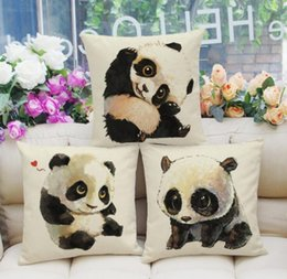 Wholesale chair covers linens - Lovely panda pillow case Cotton linen chair seat cover Home textile office sofa supplies 3 styles pillowcase
