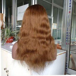 Pelucas llenas de encargo del pelo humano del cordón online-100% cabello humano natural recto 130% densidad pelucas llenas del cordón con el pelo del bebé, # 10 color del cordón del frente del cordón peluca por encargo