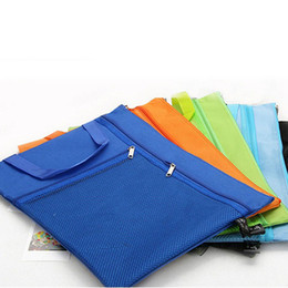Wholesale Home Office Products - A4 Canvas File Folder Bag Candy Colors Black Zip Storage Bag for Documents Office Home School Filing Products ZA5787