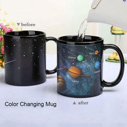 Wholesale Magic Colours - Solar System Color Ceramic Mug Galaxy Color Cosmic Cup Coffee Tea Colour Temperature Sensing change Cups Magic Mugs