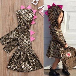 Wholesale Baby Xmas Costumes - Newborn Baby Girls Clothes toddler Kids Xmas mermaid Dinosaur Scale Dresses Girl Hooded Dress Costume dress