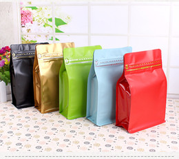 Wholesale Coffee Bean Packaging Bags - 19.5*12.5*6.5cm Aluminum Foil Zip Lock Bag Coffee Beans Packaging Bag Stand Up Food Storage Pack Pouch