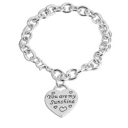 Wholesale message stamp - New Message Charm Bracelet Jewelry Bangle You Are My Sunshine Hand Stamped Heart Pendant Jewelry Keepsake Gift for Women Men