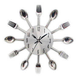 Wholesale New Design Wall Clock - 2017 New Modern Kitchen Wall Clock Sliver Cutlery Clocks Spoon Fork Creative Wall Stickers Mechanism Design Home Decor Horloge