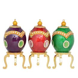 Huevos de pascua rusos online-Faberge Egg Trinket Jewelry Box Ring Holder Dish Necklace Container Russian Craft Metal Decoración Del Hogar Easter Egg Novedad Regalos