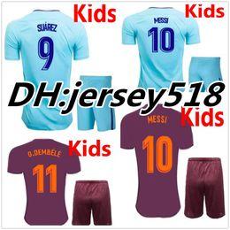 Wholesale Breathable Shirts - 17 18 kids MESSI NEYMAR JR INIESTA PIQUE SUAREZ soccer jerseys kits 2017 2018 O.DEMBELE Children football shirts