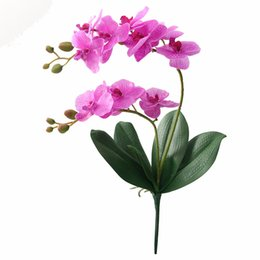 Wholesale Latex Flowers Orchids - JAROWN Artificial Flower Real Touch Latex 2 Branch Orchid Flowers with Leaves Wedding Decoration Flores