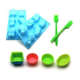 Wholesale Random Mold - DIY baking set silicone cake cup cake mold set silicone scraper brush Random Color