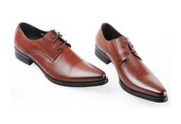 Wholesale Simple Flat Wedding Shoes - Brown Men Formal Shoes Fashion Pointed Toe Lace Up Business Leisure Patent Leather Shoes Simple Design Black Sewn 37-45