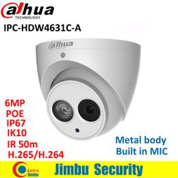 2019 cúpula câmera de segurança metal Dahua 6MP IP corpo de metal Camera IPC-HDW4631C-A substituir HDW4431C-A H.265 câmera embutida de segurança MIC IR50m IP67 IK10 CCTV Dome cúpula câmera de segurança metal barato
