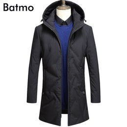 Wholesale Long Fabric Winter Coat - Batmo 2017 new arrival winter high quality Coated fabric 90% white duck down hooded jacket men,winter warm men's coat